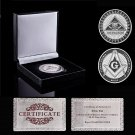 Super Sky Masonic Freemason Virtus Junxit Non Separabit Silver Coin With Box