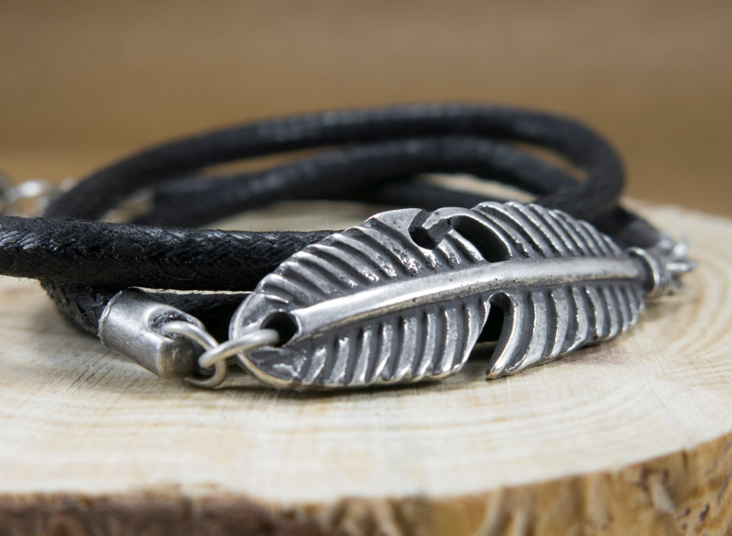 Men Bracelet - Men Vegan Bracelet - Men Feather Bracelet - Men Jewelry - Men Gift