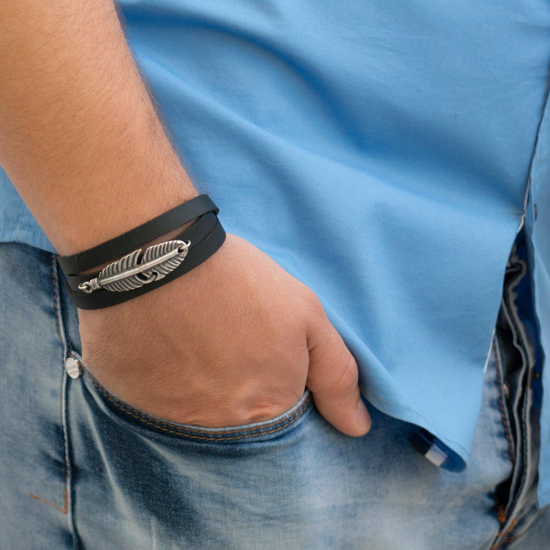 Men's Bracelet - Men's Vegan Bracelet - Men's Feather Bracelet - Men's Jewelry - Men's Gift