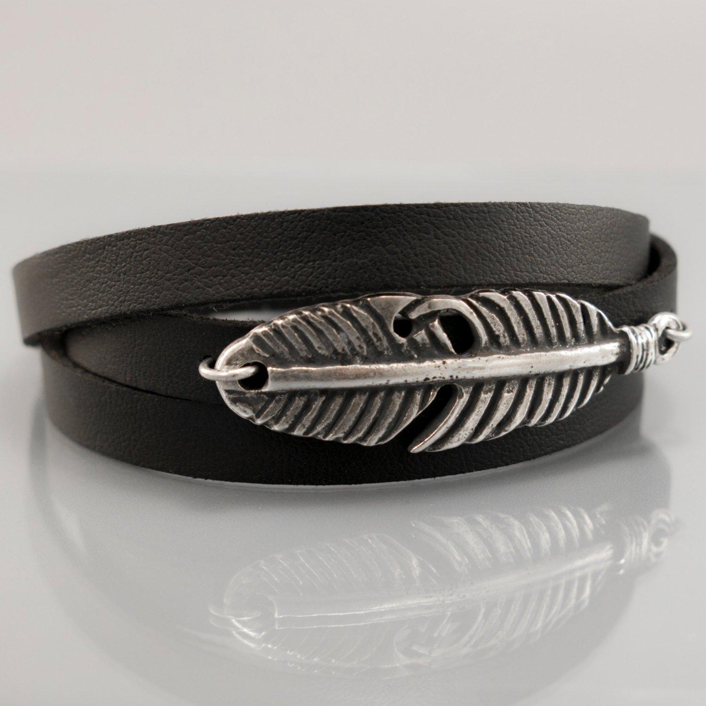 Men Bracelet - Men Vegan Bracelet - Men Feather Bracelet - Men Jewelry - Men Gift