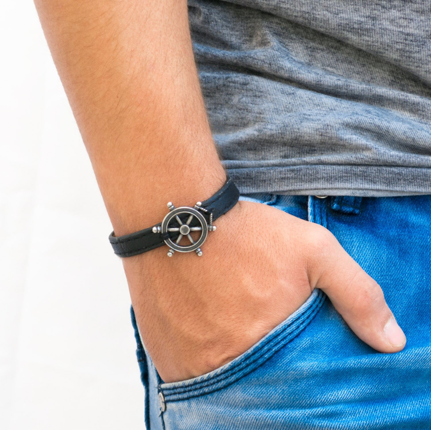 Men's Bracelet - Men's Jewelry - Men's Leather Bracelet - Men's Nautical Bracelet - Men's Gift