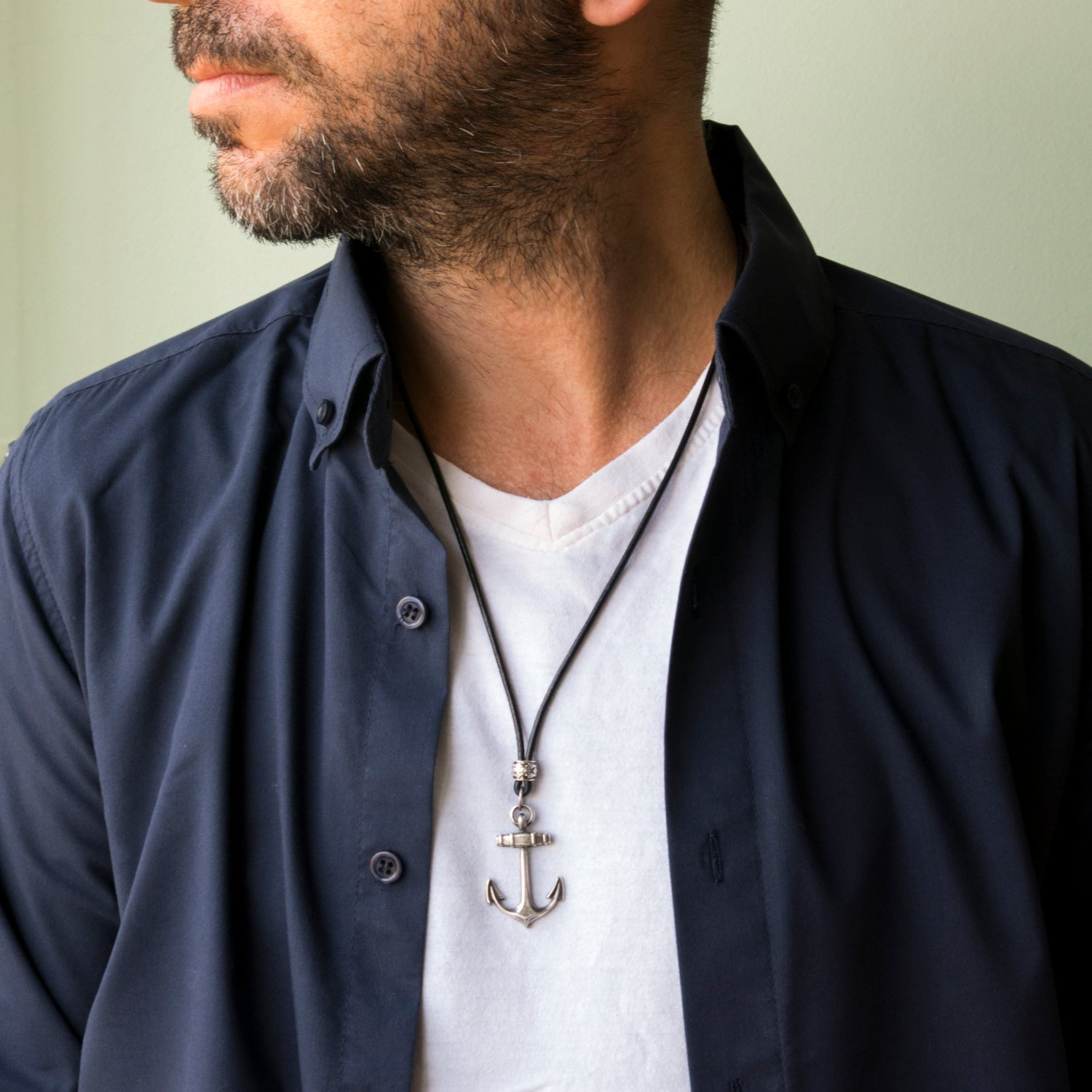 Men's Necklace - Men's Anchor Necklace - Men's Silver Necklace - Men's Leather Necklace - Men's Gift