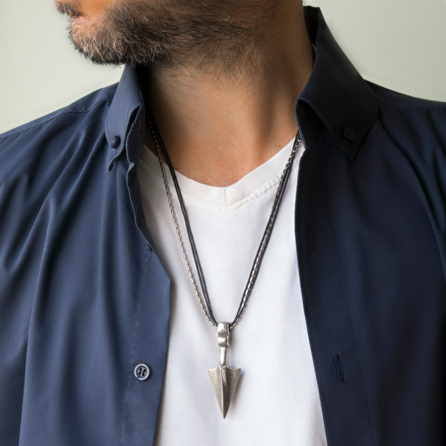 Men's Necklace - Men's Silver Necklace - Men's Vegan Necklace - Men's Jewelry - Men's Gift