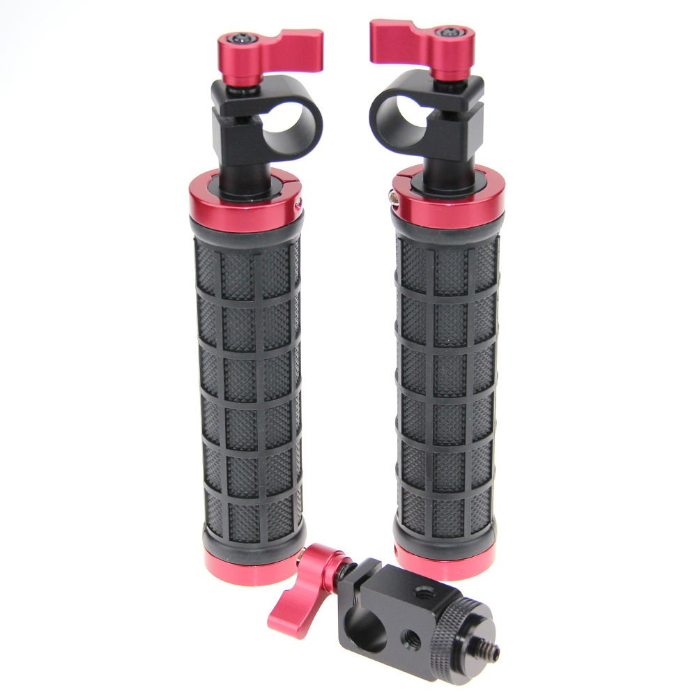 CAMVATE 2 PCS Camera Grip Handle with rod clamp for 15mm Rod Rig rail Support (Black & Red) C1289