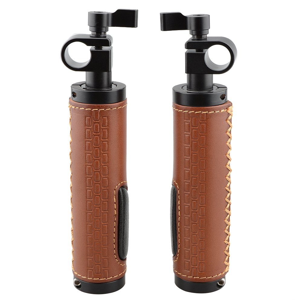 CAMVATE 15mm Rod Clamp Handle Grip (Leather) for DSLR Camera Rod System (pack of 2)