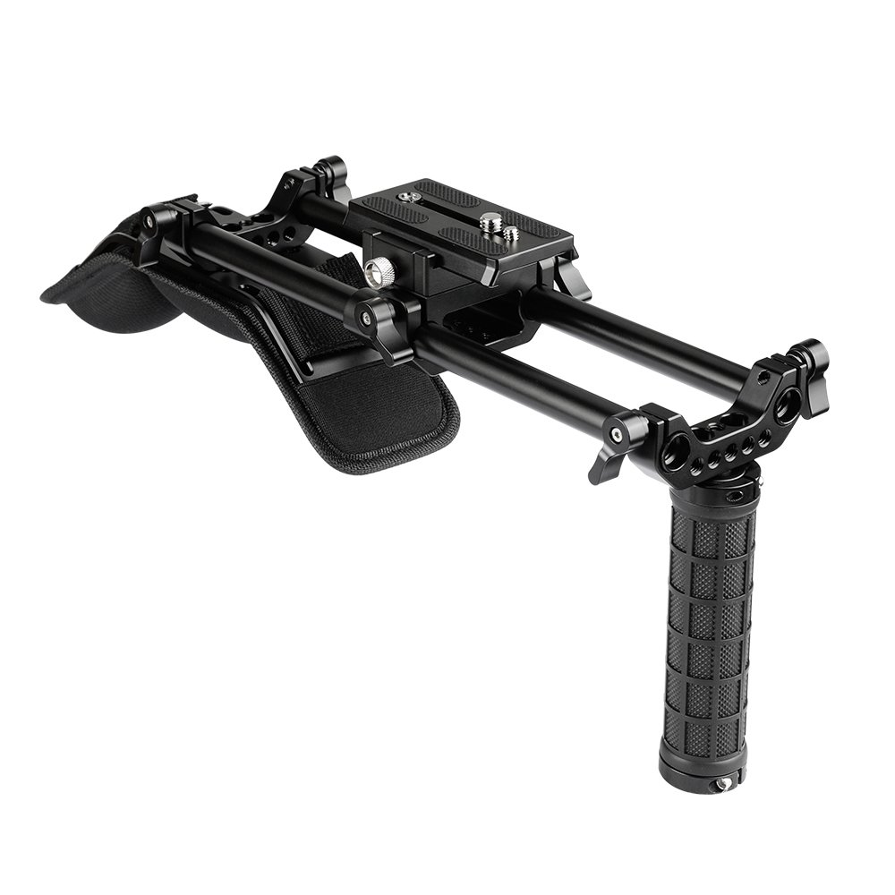 Shoulder Mount Kit With 15mm Rod System&Manfrotto QR Plate For Video Cameras And Camcorders C2105