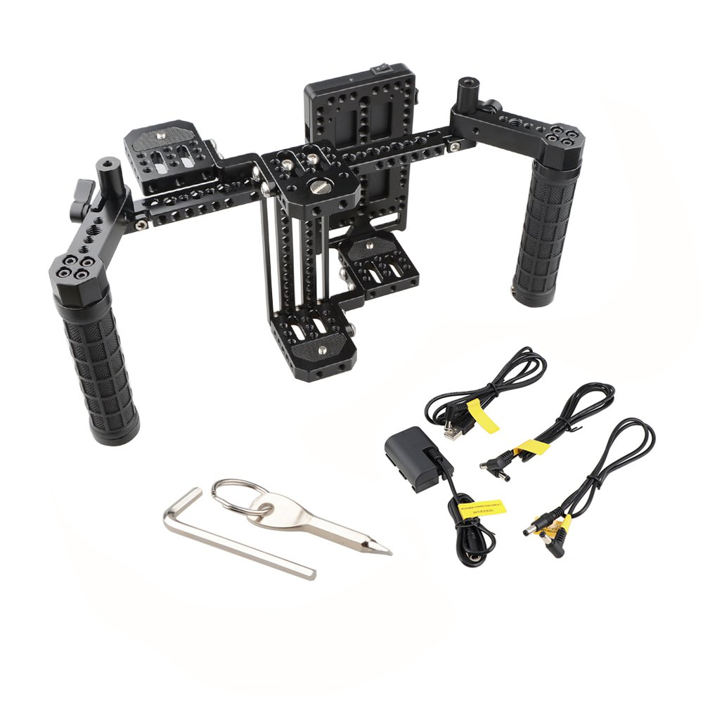 """CAMVATE 7"""" Director's Monitor Cage Rig With V Lock Power Supply Splitter & Dual Handgrip C2088"""