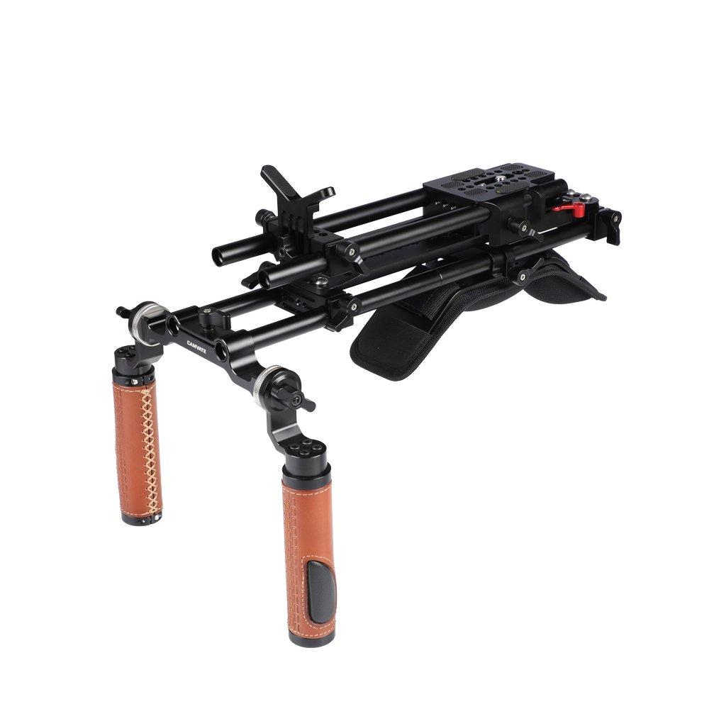 """Shoulder Mount Rig With 12"""" ARRI Dovetail Bridge Plate Quick Release Adapter Baseplate C2458"""