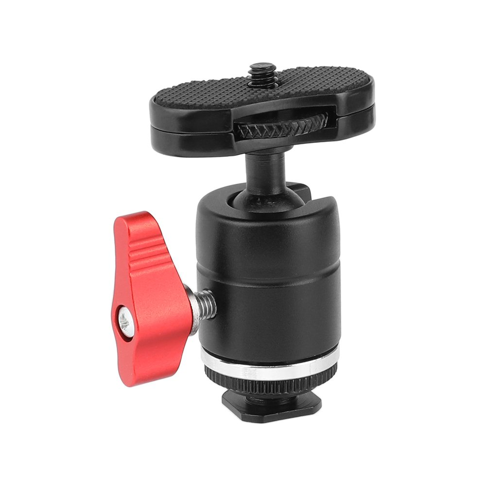 "CAMVATE 1/4""-20 Male Thread Mini Ball Head With Shoe Mount Adapter & Red Ratchet Locking Knob C2464"