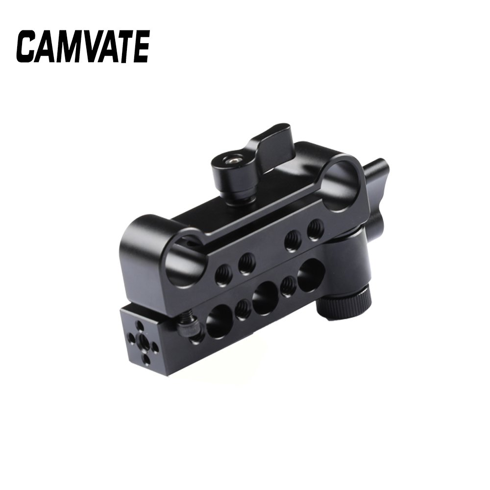 CAMVATE General-purpose Double 15mm Dual-Rod Clamp Railblock Adapter (Two-in-one)  C2504