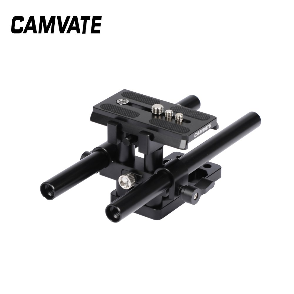 Quick Release Manfrotto Baseplate (Horizontally Mounted) & 15mm LWS Dual Rod Supporting System C2505