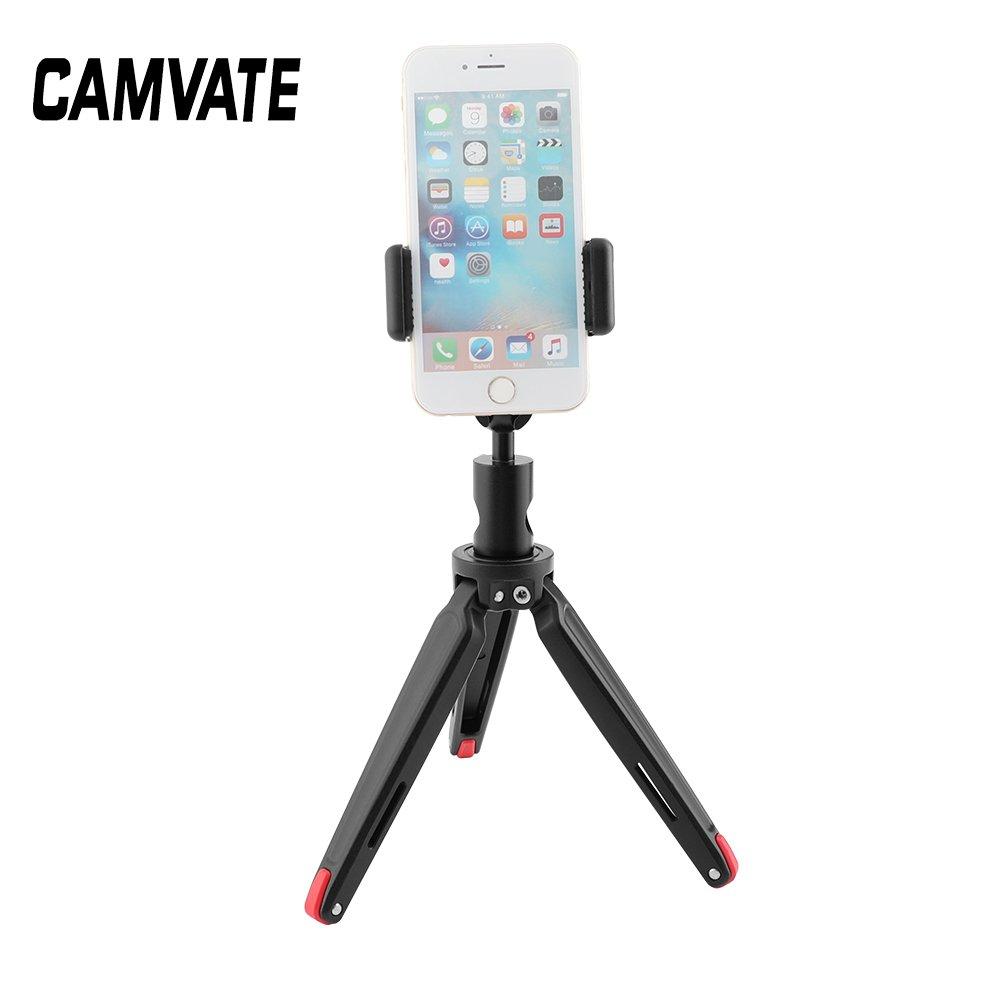 CAMVATE Robust Foldable Mini Tabletop Tripod + Smartphone Clip + Ball Head Peapod Holder  C2510