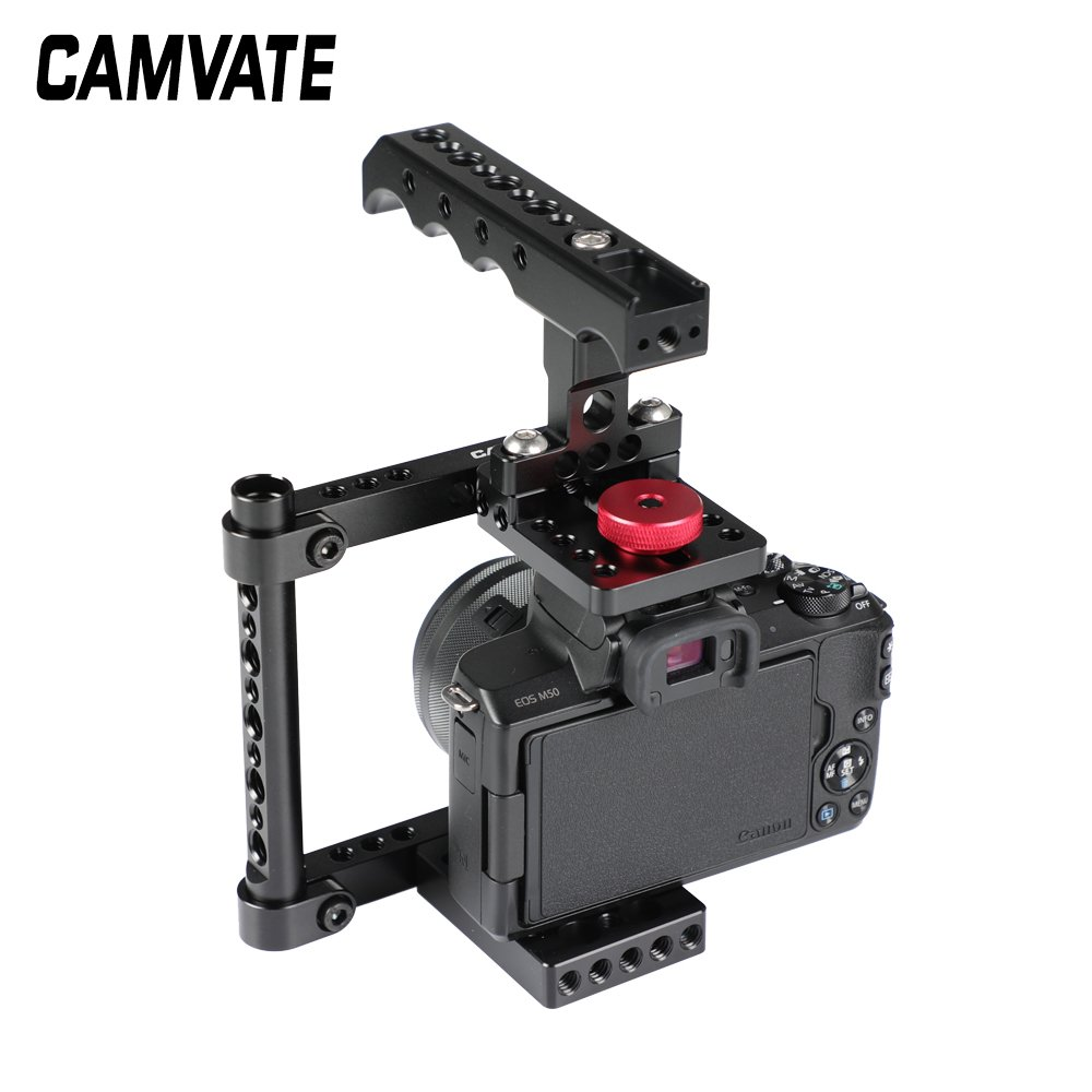 CAMVATE Simple Camera Cage Rig With Top Cheese Handle Grip For Canon M50 C2527