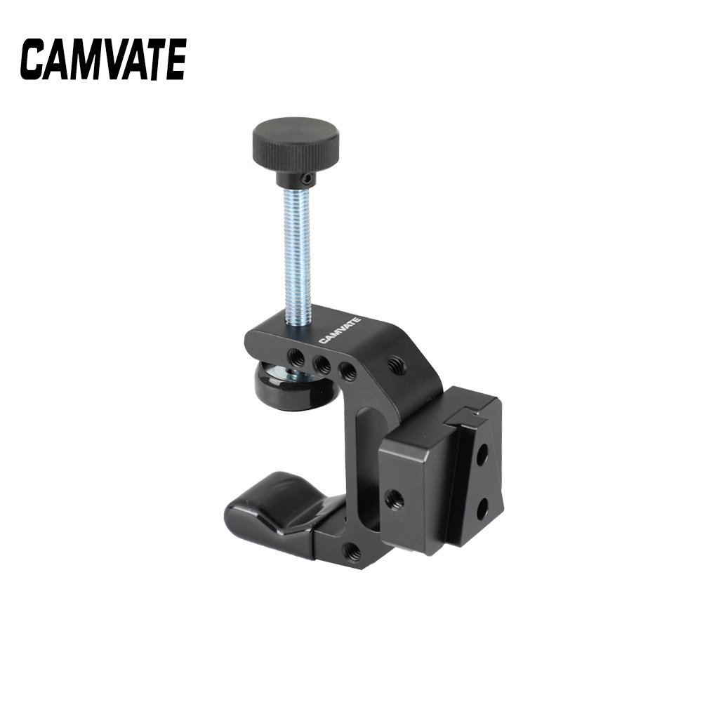 "CAMVATE Robust C Clamp With 1/4"" Mounting Points + Quick Release V-Lock Mount Wedge Kit C2528"