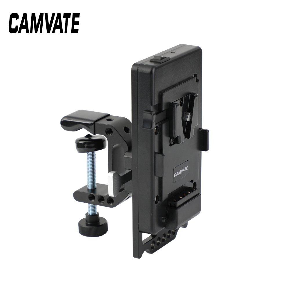 CAMVATE Release V Lock Power Supply Splitter + V Lock Mount Wedge Kit + Robust C Clamp Mount Holder