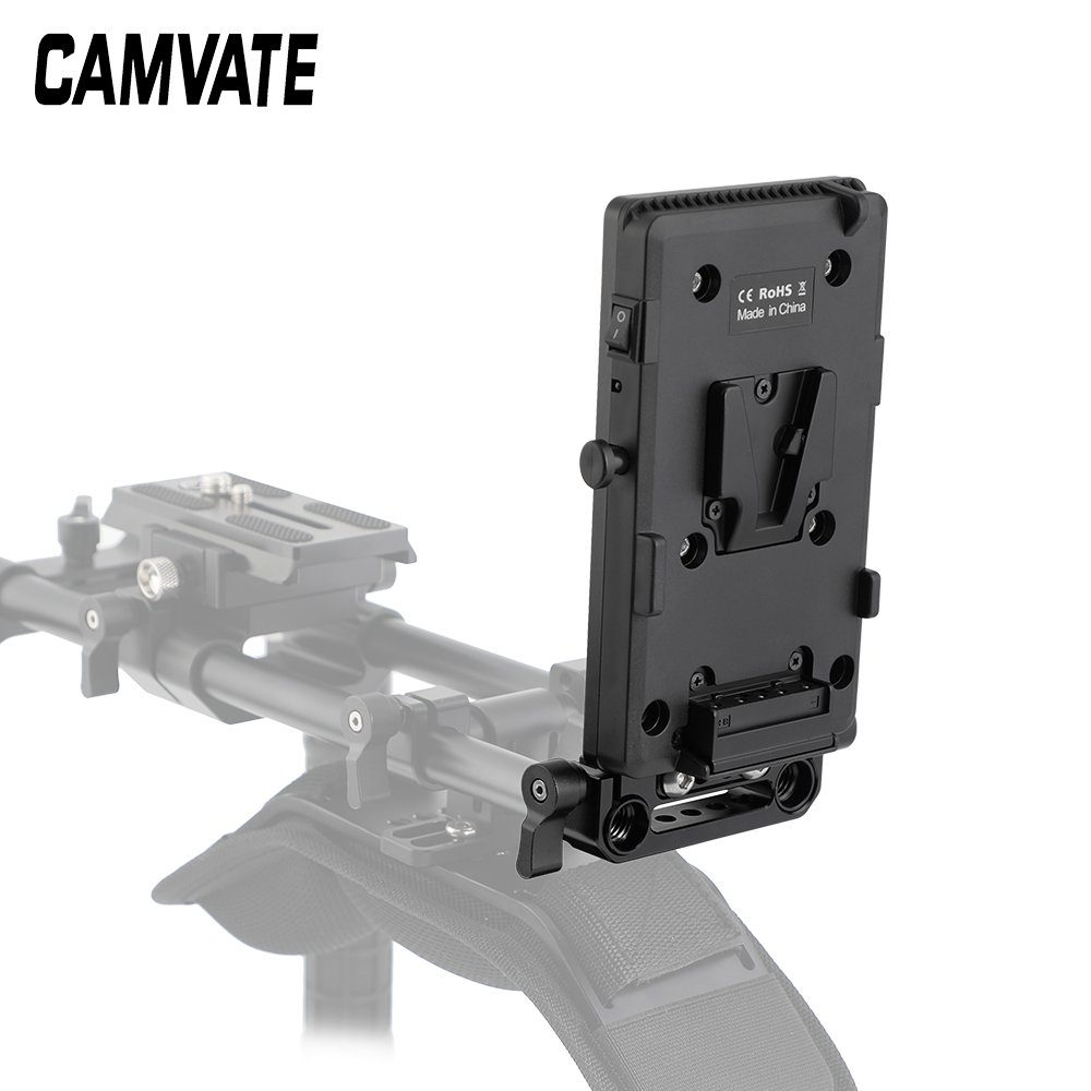 Quick Release V Lock Power Splitter Plate + Battery Cheese Plate With 15mm Rail Block Rod Clamp