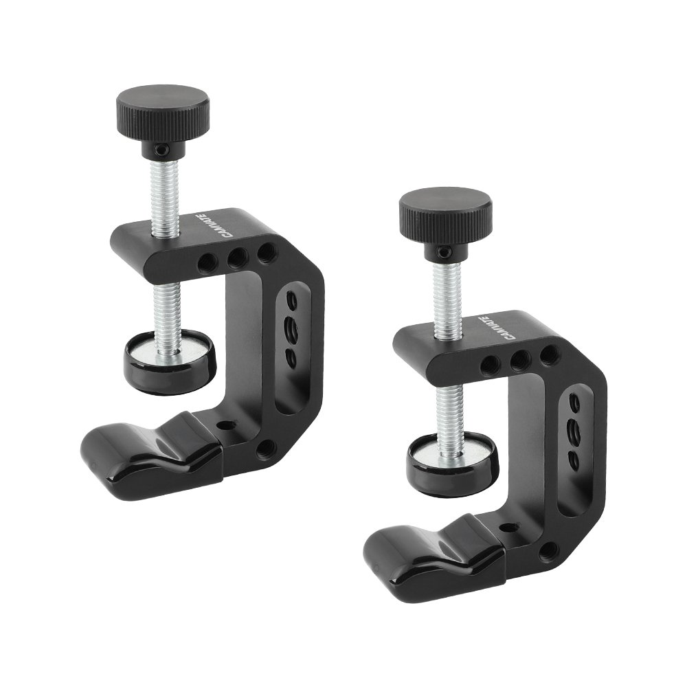 C-Clamp Aluminum Support Clamp Desktop Mount Holder Stand with 1/4-20 & 3/8-16 Metal Female Socket