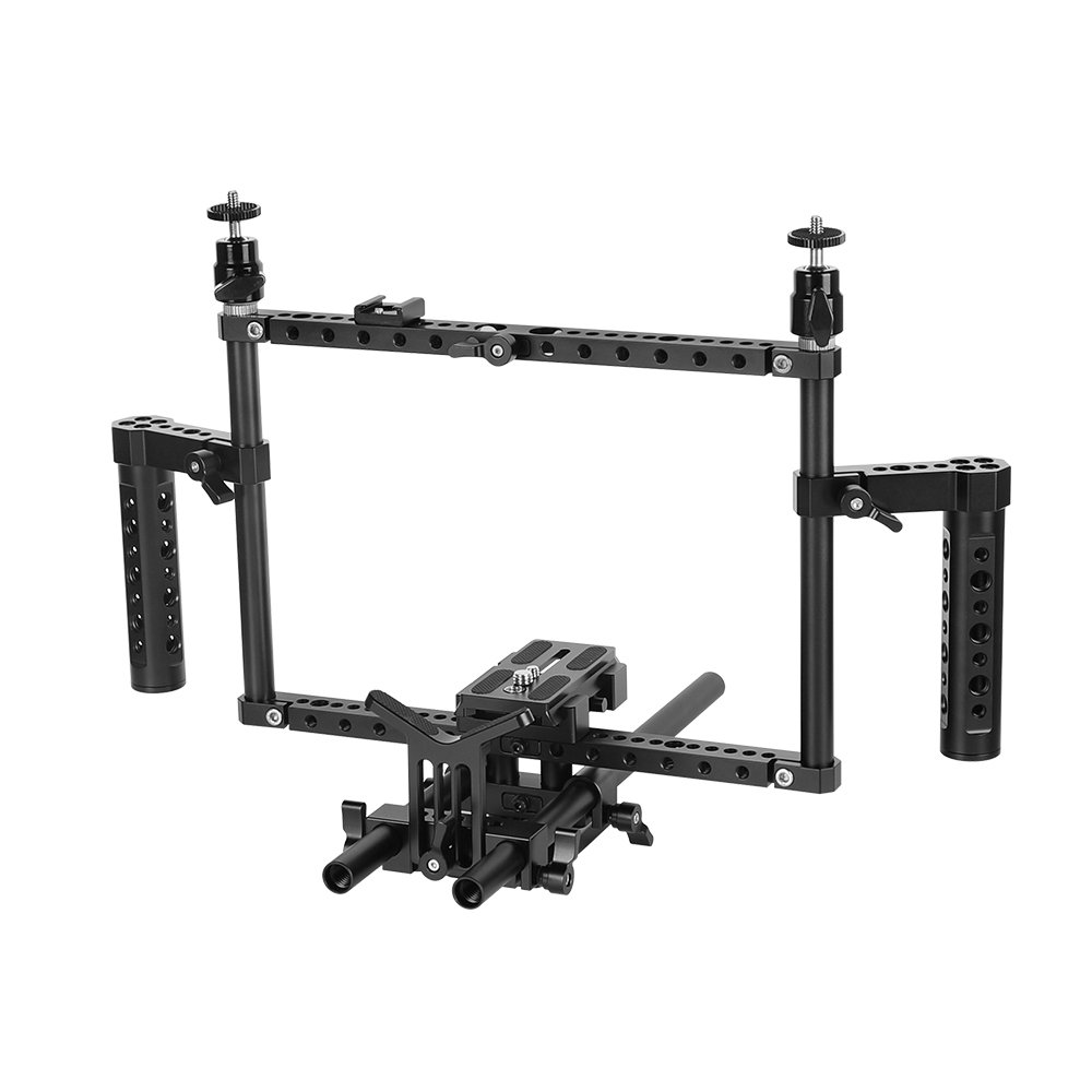 Full Frame DSLR Camera Cage Rig With 15mm Rod Support System & Manfrotto Quick Release Baseplate