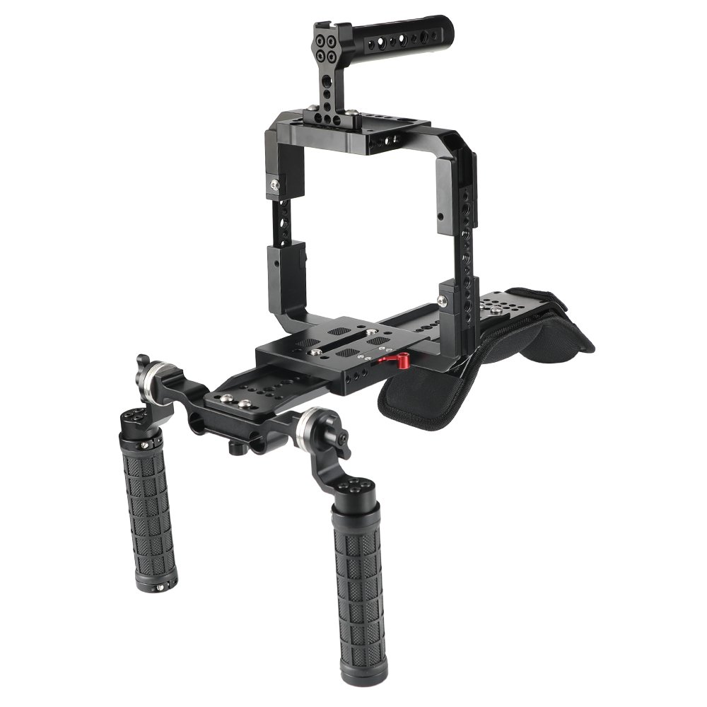 CAMVATE Pro Shoulder Mount Support Rig With ARRI Dovetail Sled Plate & Full Frame Cage Kit