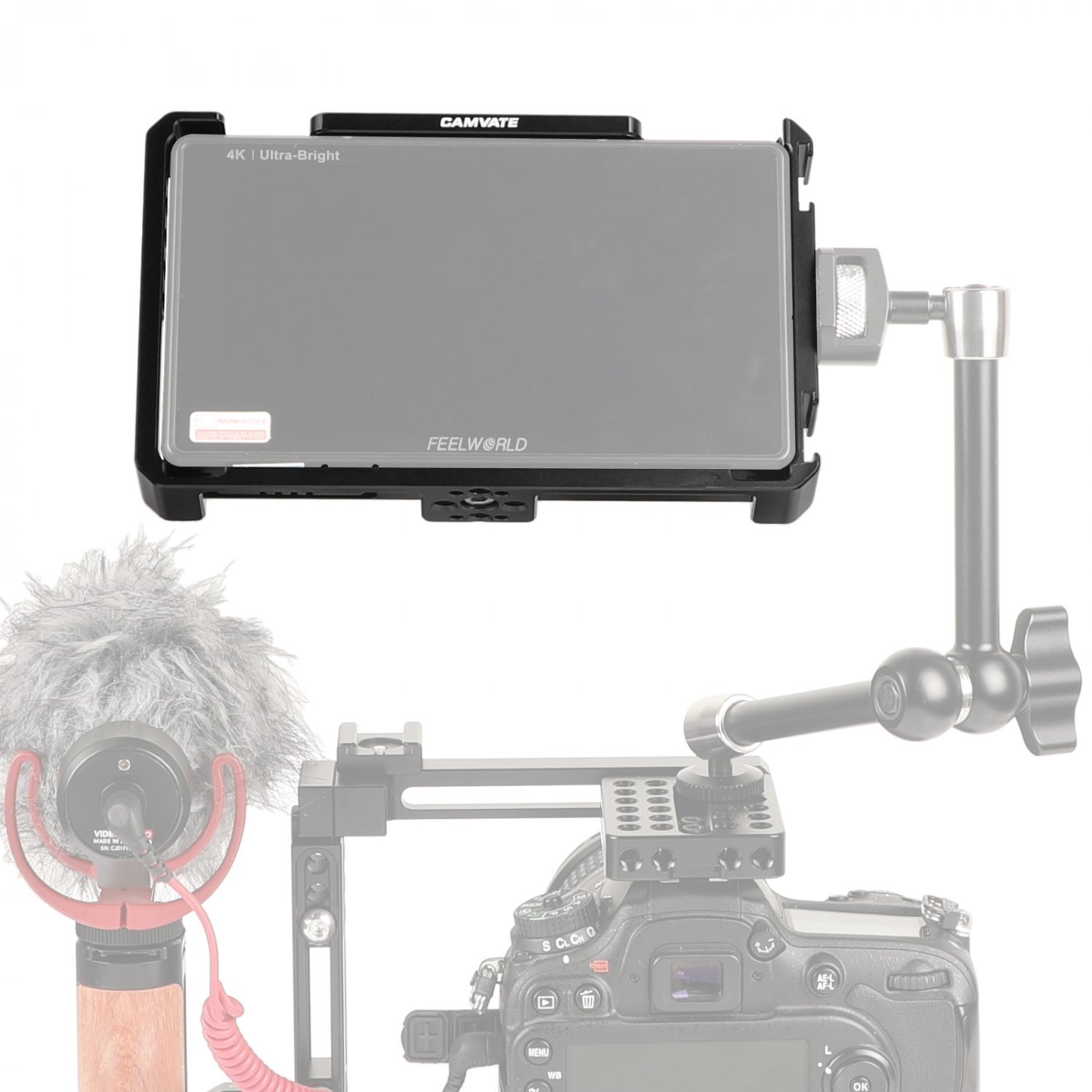 """CAMVATE Form-fitting Cage Armor Bracket For FeelWorld LUT6 & LUT6S 6"""" Monitor C2640"""