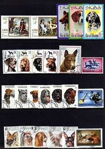 DOGS - COLLIE - POODLE - TERRIER - PHOTOS +++ 53 DIFFERENT - CTO NH STAMPS!