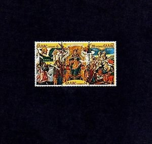 GREECE - 1980 - CHRISTMAS - MADONNA & CHILD - PAINTING ++ MINT MNH STRIP / SET!!
