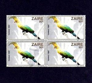 ZAIRE - 1982 - BIRD - GREEN TURACO - AFRICA - MINT - MNH BLOCK!