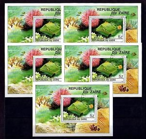 ZAIRE - 1980 - TROPICAL FISH - TRIGGERFISH - WHOLESALE LOT  5 X CTO NH S/SHEETS!