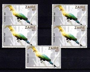 ZAIRE - 1982 - BIRD - GREEN TURACO - AFRICA - LOT OF 5 - MINT - MNH SINGLES