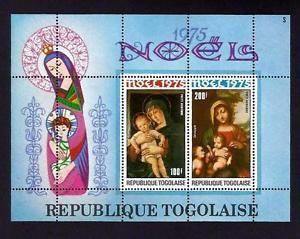TOGO - 1975 - CHRISTMAS - VIRGIN & CHILD - PAINTINGS - PERF MNH S/SHEET!