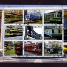 TURKMENISTAN - 2000 - TRAIN - RAILWAY - STREET CAR - TROLLEY - 9 X CTO NH SHEET!
