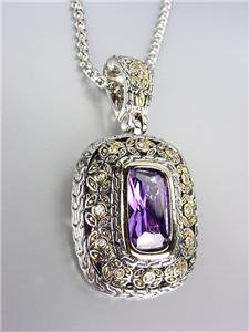 NEW Designer Style Balinese Silver Gold Purple Amethyst Crystal Pendant Necklace