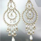 EXQUISITE White Agate Stone Crystals Gold Chandelier Dangle Peruvian Earrings 13