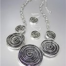 NEW Brighton Bay Antique Silver Swirl Medallion Disks Necklace Earrings Set
