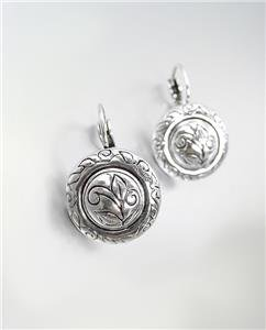 CLASSIC Brighton Bay Silver Etched Filigree Round Leverback Dangle Earrings