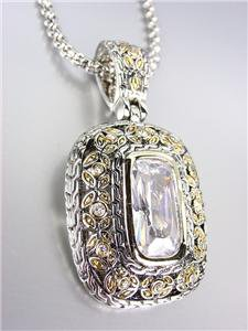 NEW Designer Style Balinese Silver Gold Clear Topaz CZ Crystal Pendant Necklace