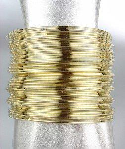 STYLISH 50 PC Thin Gold Metal Bangle Bracelet