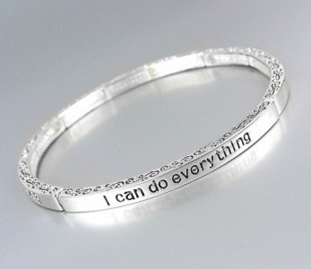 Inspirational I CAN DO EVERYTHING PHILIPPIANS 4:13 Scripture Stretch Bracelet