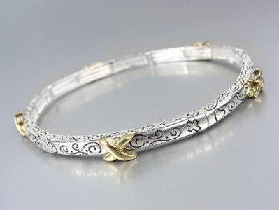 Designer Style Thin 4mm Silver Filigree Gold X Stretch Stackable Bracelet