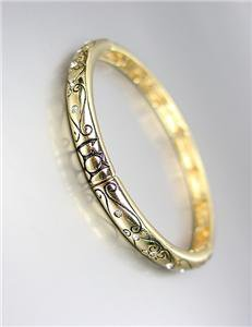 CLASSIC Brighton Bay Gold CZ Crystals Filigree Links Stretch Stackable Bracelet