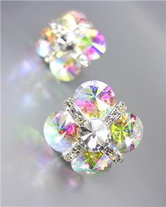GLITZY Iridescent AB Czech Crystals Bridal Prom Pageant Queen CLIP Earrings