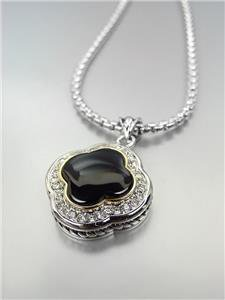 GORGEOUS Silver Black Onyx CZ Crystals Clover Pendant Box Chain Necklace