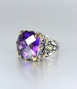 *NEW* Designer Inspired Purple Amethyst CZ Crystal Silver Gold Balinese Ring