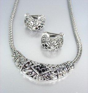 CLASSIC Brighton Bay Silver Filigree Black CZ Crystals Cable Necklace Set