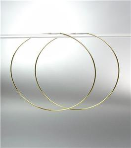 """CHIC Lightweight Thin Gold Continuous INFINITY 2 1/4"""" Diameter Hoop Earrings"""