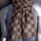 Designer Style Brown MONOGRAM Check Print CASHMERE TOUCH 100% Acrylic Scarf