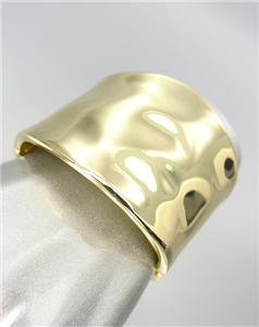 CLASSIC Designer Style Smooth Organic GOLD Metal Hinged Bangle Bracelet