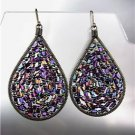 CHIC Amethyst AB Peruvian Crystals Antique Metal Chandelier Dangle Earrings
