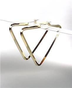 "CHIC & UNIQUE Thin GOLD Metal Triangle 1 3/4"" Hoop Post Earrings"