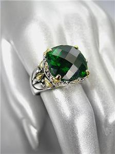 *NEW* Designer Inspired Emerald Green CZ Crystal Silver Gold Balinese Ring